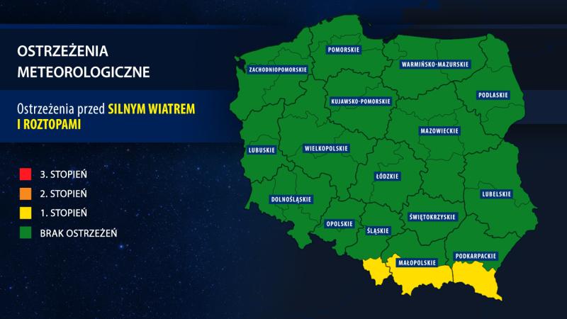 IMGW wydał ostrzeżenia meteorologiczne (TVN Meteo za IMGW)