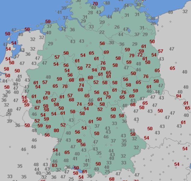 Porywy wiatru w Niemczech w czwartek 29.04 (wetteronline.de)