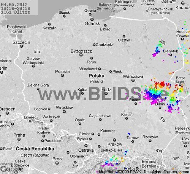 Burze w Polsce między godz. 18.30 a 20.30 (blids.de)